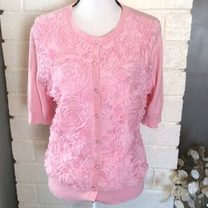 New York & Co Pink Ruffle Flower Sweater